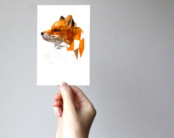 A04 - Fox - Geometric animal art print