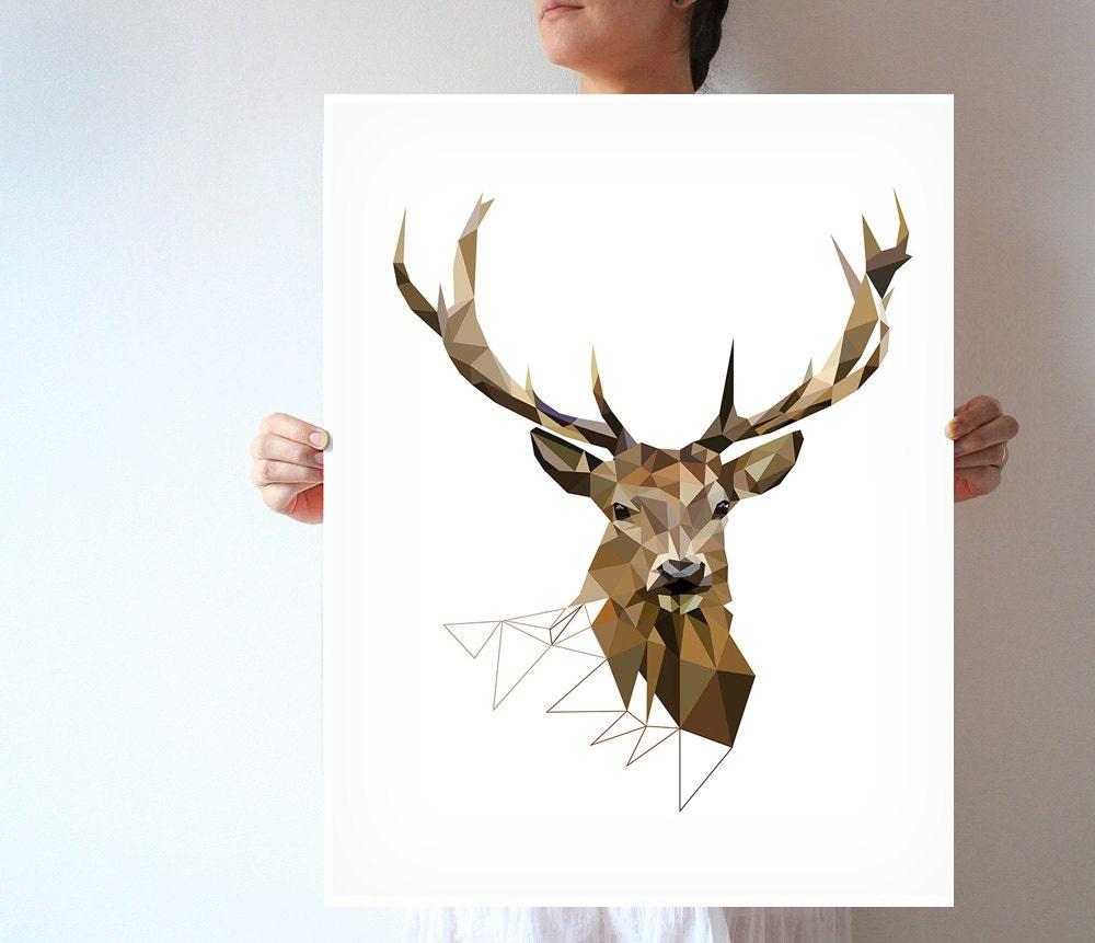 Geometric Purple Deer Wall Art Print Modern Poster Buck: Large Art Print Deer Print Geometric Print Deer Art Deer