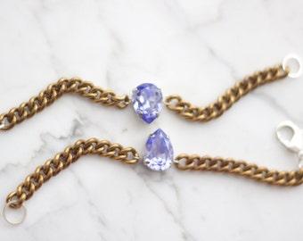 On SALE! Lavender Swarovski Bracelet. Bronze Swarovski Chain Bracelet. Curb Chain Bracelet. Vintage Chain Bracelet.
