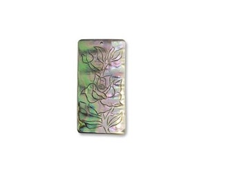 Abalone Etched Rose Pendant Necklace