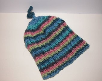 Cute Beanie Baby Hat knitted in Debbie Bliss Rialto DK Extra Fine Merino Wool