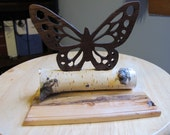 Butterfly On Birch Branch and Hewn Maple Base