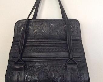 Black hand tooled Flores bag
