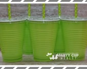 Lime Green Birthday Party Cups-Halloween Party Cups-Party Cups Lids Straws-Popcorn Favor Cups