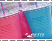 Gender Reveal Baby ShowerParty Cups-Party Cups  Lids Straws