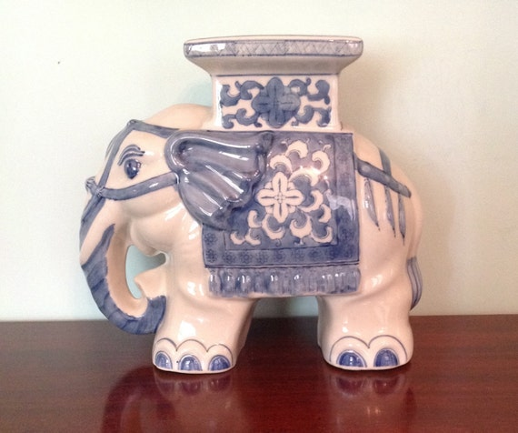 Ceramic Pottery Elephant Garden Stool Plant Stand Blue And