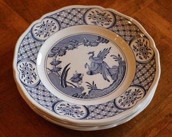 "Mason's English Ironstone Blue and White Transferware ""Old Chelsea -Blue"" Pattern Set of Four Dessert Plates"