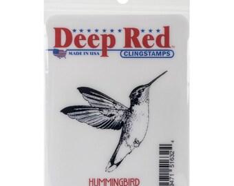 Deep Red Cling Stamp - Hummingbird