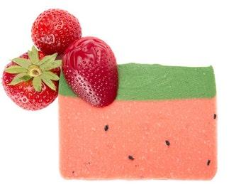 Strawberry Soap, Handmade Soap, All Natural Soap, Soap Bar, Homemade Soap, Cold Process Soap, Olive Oil Soap, Vegan Soap, Natural Soap 4-5oz
