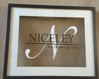 Personalized 16 x 20 Floating Name Frame