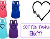 TANK TOP- H4L Heart Dumbbell Design,  Cotton Racerback Workout Tank, Fitness Design