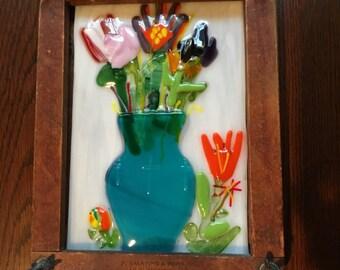 Fused Glass 15-Love, Fused Glass Vase, Fused Glass Art, Fused Glass Tennis Frame Vase, Fused Glass