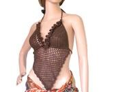 Brown bikini top , Open back sexy halter top , Festival crochet bikini top , Crop top , Crochet bra top