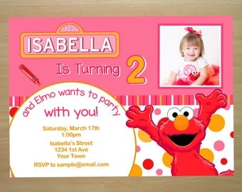 Pink Elmo Girl Birthday Invitation - Digital File (Printing Services Available)