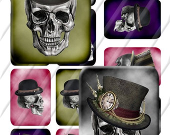 24mm X 34mm Rectangle Domino Digital Collage Image Skull Steampunk  Instant Download Photo jewelry Making