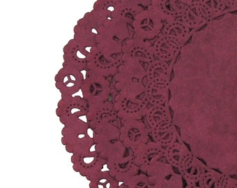 """BURGUNDY Paper Lace Doilies 
