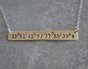 Lat/Long Coordinates Necklace Sterling Silver Eco Friendly Reclaimed Silver Personalized Bar Necklace Custom Jewelry Perfect Gift