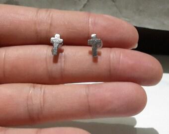 tiny silver cross stud earrings