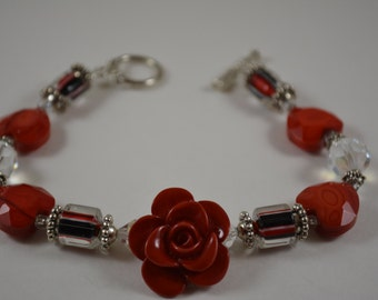 One of a Kind Flower Bracelet with Fused Glass and Red Hematite Hearts.