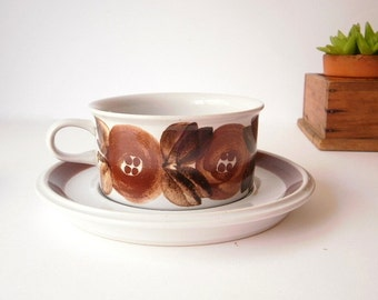 Arabia Finland Cup and Saucer, Rosemarin Pattern, hand Painted and signed by Ulla Procope.Vintage Coffee/ Tea Cup