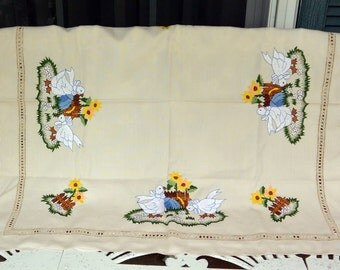 Vintage Embroidered Tablecloth - White Ducks Bows - Flowers, Picket Fence, Open Lace - 1970's - Fabulous!
