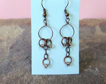 Antique copper hoop earrings, copper earrings, hoop earrings