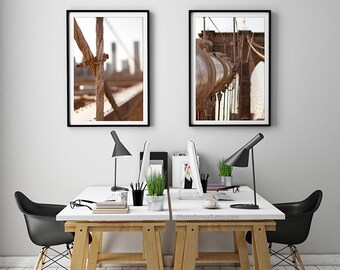 New York photography/Brooklyn Bridge large wall art/dorm decor/sepia photography/set of 2 prints/gallery wall/New York city poster/NYC print