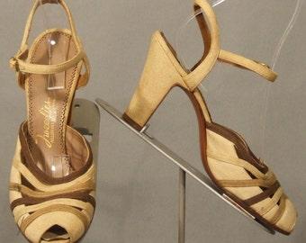 s65 Tri Toned Canvas Peep Toe Pumps Vintage Shoes