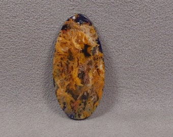 Indigo Tinted REGENCY PLUME AGATE Backed With Serpentine Cabochon Doublet