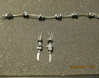 Bracelet and Earrings made of Snow Flake Beads and Silver