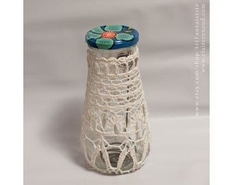 Crocheted lace on glass jar repurposed  - Textile art - recycling home decoration - (CL-2015-05)