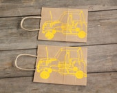 Unique Gift Bag Screen printed with Wire Car Design in Yellow ink