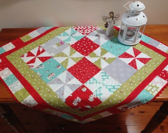 Handmade Christmas Table Topper With  Ric Rac Trim