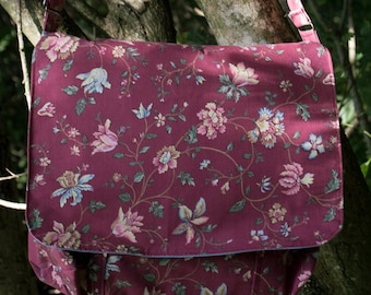 Flower Maroon Messenger Bag with front and inside pockets and adjustable strap