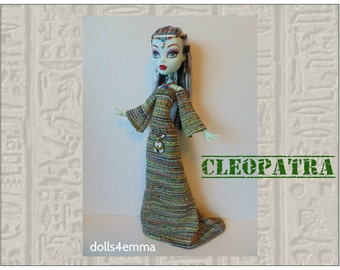 "Monster High 17"" Doll Clothes - CLEOPATRA Egypt Gown, Goddess Belt, Headdress & Necklace - Handmade custom Egyptian fashion by dolls4emma"