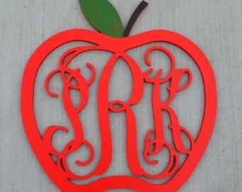 Monogram Apple Door Hanger // Fall Wreath // Teacher Monogram // Painted Monogram Fall Wreath // Wooden Door Hanger // Apple Teacher Wreath