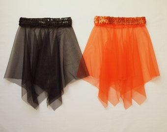 Black or Orange Sheer Handkerchief Style Dance Skirt with Sequin Waistband