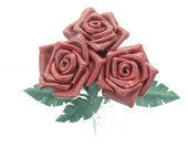 3 Red Leather Roses Flower Bouquet  Long Stem Green Leather Wife/Girlfriend/Valentines Day Gift