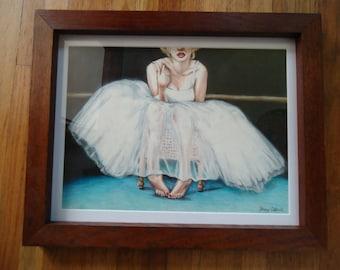 Original Ballerina art - Framed original art - Original art- Ballet art - Dancing art - Original drawing, Pencil drawing, Marilyn Monroe