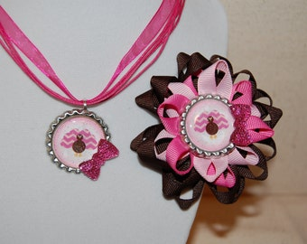Turkey Bow and Necklace Set