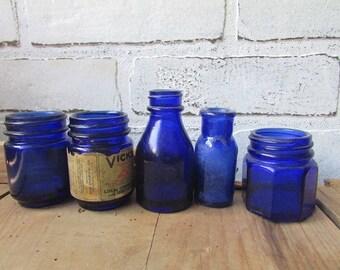Cobalt Blue Bottles Vintage Apothecary or Drugstore Bottles Wedding Bud Vases
