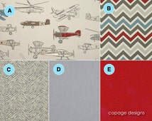 CRIB SKIRT: Vintage Air Pewter Natural Box Pleated Crib Skirt / Boy Vintage Airplanes Crib Skirt & Optional Fitted Sheet - Design Your Own