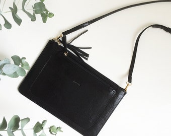 Small black leather crossbody purse , it can be used as a crossbody clutch or as a wallet