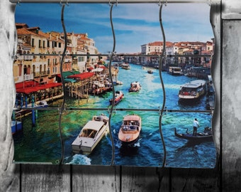 Venice, Italy Canal Scene on Hanging Metal Mural