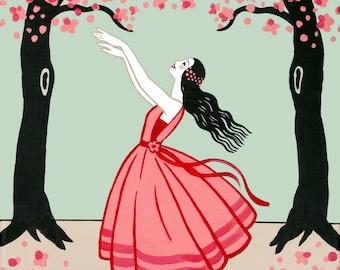 Dancer Art Dancer Print Fine Art Print Illustration Art Deco 1920s Stylized Ballerina Woman Girl Whimsical Red Pink Coral Cherry Blossom