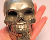 Pyrite Fools Gold Crystal Skull Giant Sized Hand Carved 4 1/4 Inches Helps Create Large Cash Flow!