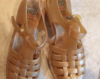 Vintage 90's Gold Guess High Heel Jelly Fisherman Sandals 5 Jellies Chunky