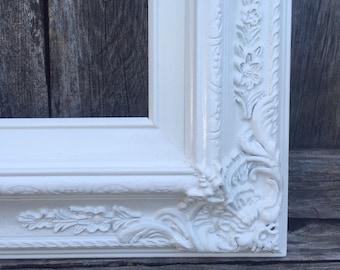 White 8x10 Picture Frame, Baroque, Wedding Frame,Wide Chunky Frame,Ornate Wedding Frame, Nursery, Photo Prop #SC(Los Angeles)