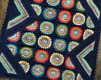 Pattern - CypressTextiles Wildflower Blanket - Crochet Pattern/Tutorial - rectangle throw - blanket is also available