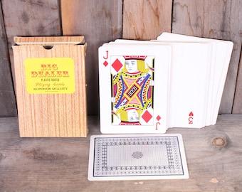 """Vintage Novelty Gag Gift Extra Large Big Dealer Playing Card Deck 5"""" x 7"""""""